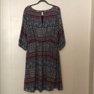 My Michelle Multi-Patterned Dress with Sleeves